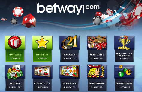 How many type of games does Betway casino offer?